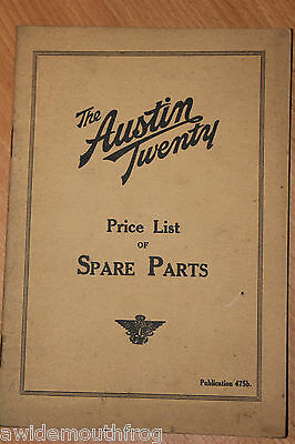 Austin Twenty Price List Of Spare Parts Publication 475b