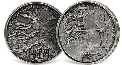 Headless Horseman Ultra High Relief 2 oz .999 Silver Antiqued Finish Round Coin