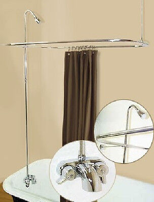 Add A Shower Converter Kit For Clawfoot Tub with Diverter Faucet & Rod Chrome