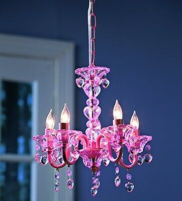 Pink Crystal Chandelier Girls Children Kids Bedroom Room Girl Ceiling Light Lamp