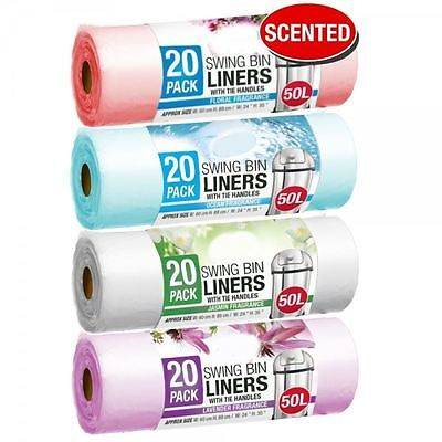 80 Scented Swing Bin Liners 50L Bags Fragrance Refuse Waste Sack Multi Colour