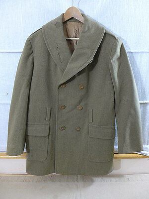 #mj6 Original US WW2 1944's ARMY Officer Mackinaw Wool Jacket Over Coat Mantel