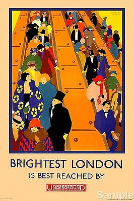 Vintage Underground Poster Brightest London 1924 Travel Reproduction Art Print