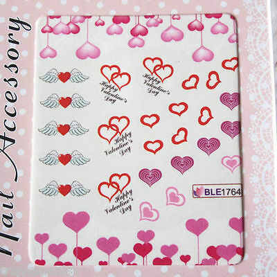 Valentines Nail Art Stickers Water Decals Red Pink Hearts Lace Love Bows (1764)