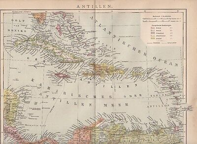 1893 ANTILLEN Landkarte Antique Map Cuba Haiti Barbuda * Original Druck / Print