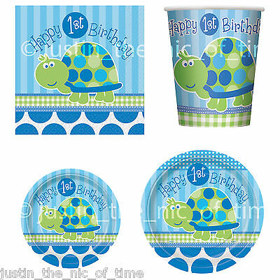 1st First Birthday TURTLE Party, Baby Boy, Tableware, Partyware, Decorations