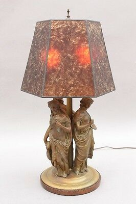 Early 1900s Bronze Table Lamp w Three Muses Antique Greek Revival Light (8887)