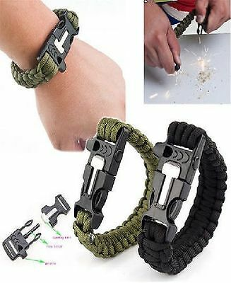 Outdoor Survival Bracelet Paracord Flint Fire Starter Scraper Whistle Gear Kits