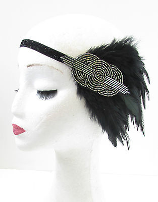Charcoal Silver Grey Black Feather Headband 1920s Flapper Great Gatsby Vtg V36