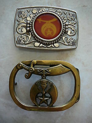 Lot of 2 Shriners Freemasons Masons Buckle 1980 Brass Baron and 1960's Silver
