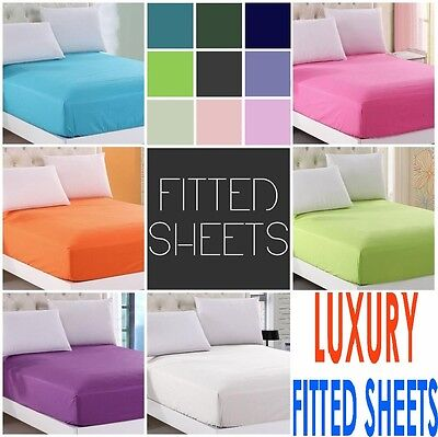 LUXURY 16 inches /40CM EXTRA DEEP FITTED PERCALE SINGLE DOUBLE KING BED SHEET