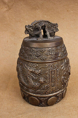 Chinese Copper brass cloud dragon Clock bell W6237