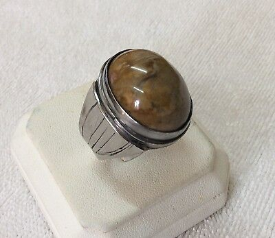 Personalized Mens Agate Rings Unique Akik Islamic Fossilised Aqeeq Stone 10.5 US