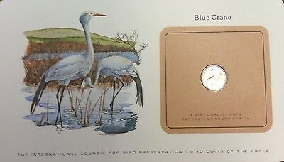 Bird coins of the world on card - blue crane