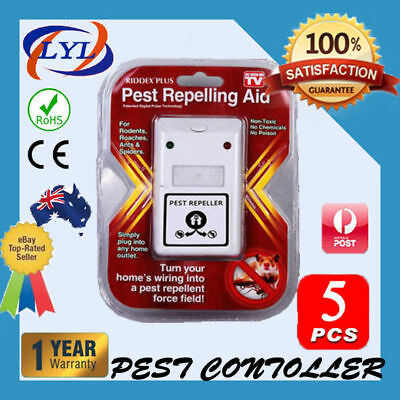 5 X RIDDEX Plus Electronic Ultrasonic Pest Control, Repeller, Spiders Rats Mice