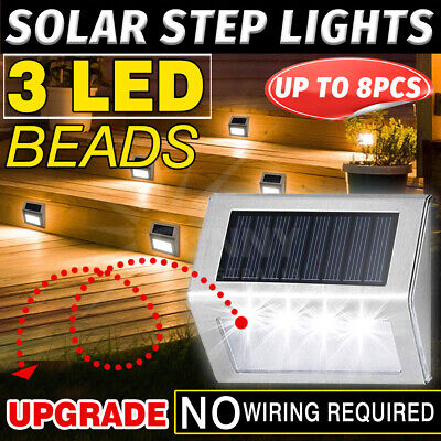 8X Outdoor Solar LED Deck Garden Stair Step Lights Stainless Steel Wall Pathway