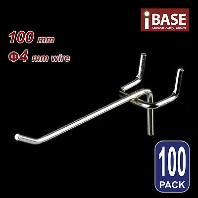 100 x PEGBOARD HOOK CHROME PANEL VALCANO BOARD 100MM 4MM