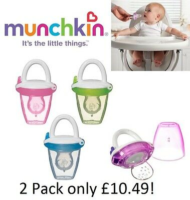Munchkin Safe Easy On The Go Baby Food Silicone Puree Travel Feeder With Cap