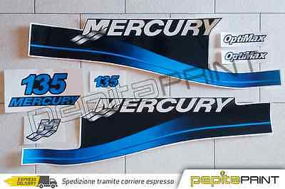 KIT adesivi MERCURY motore135 fourstroke/efi/optimax/saltwater plastificati blu