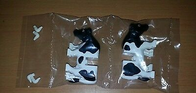 Lego New Farm Animals Lot Of Black And White Cows X2 Sealed With Horns