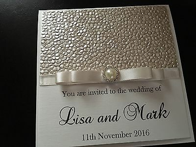 Personalised Luxury Pearl Wedding Invitations - Any Colour