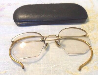 12KGF Metal EyeGlass Spectacles w/Broken Nose Piece & Black Case Early 1900s