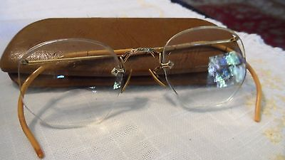 Early 20th Cent Unisex Bifocal EyeGlasses w/Brown Case & 12KGF Gold Frames