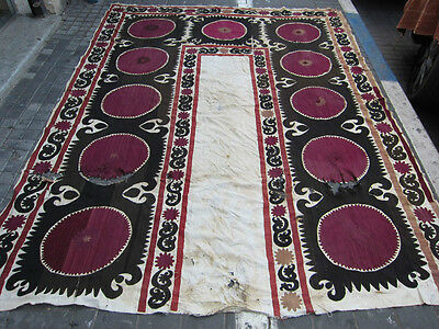 ANTIQUE UZBEK SILK HAND MADE- EMBROIDERED SUZANI 250x190-cm / 98.4x74.8-inches