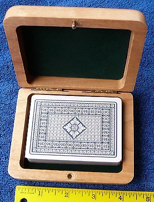 "Wood box light colored playing card jewely 4 1/2"" by 3 1/2"" velvet lined NEW"