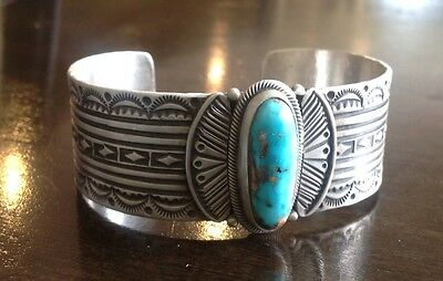 """signed/stamped"" Vintage Navajo Royston Spiderweb Turquoise & Sterling Cuff"