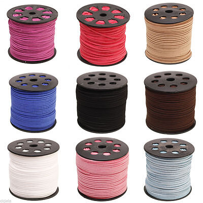 Hot Genuine leather Suede Cord Beading Thread Lace Flat Jewellery Making DIY 3mm