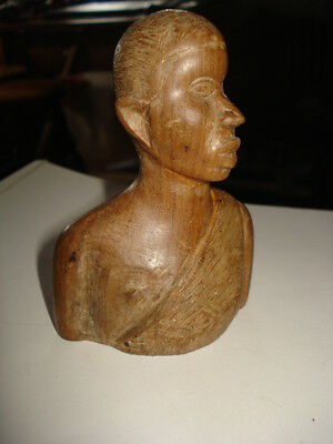 """RRR VINTAGE OLD HAND CARVED WOODEN BUST of an AFRICAN MAN 4-1/4"""""""