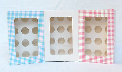 12 holes MINI  3.8cm cupcake box with window white, pink or blue check