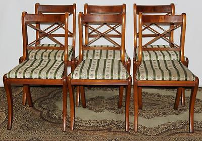 Set of 6 Antique Regency Style Yew Wood Dining Chairs - FREE Delivery [PL1867]