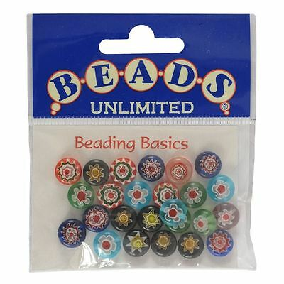 Beads Unlimited Millefiori Round Glass Beads 10mm Jewellery Making Craft 25 Pack