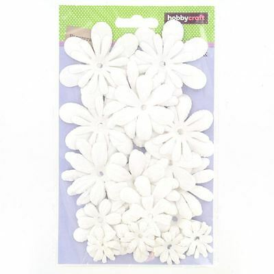 Hobbycraft White Paper Flowers Craft Embellishments Colours Card Making 30 Pack