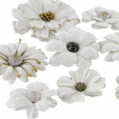 Hobbycraft White Ornate Paper Flowers Craft Embellishment Card Making 8 Pack