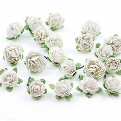 Hobbycraft White Mini Roses Craft Embellishment Card Making Paper Topper 20 Pack
