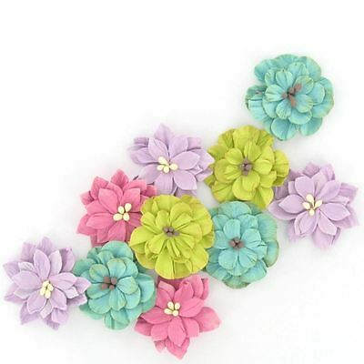 Hobbycraft Assorted Paper Flowers Craft Embellishment Colour Card Making 10 Pack