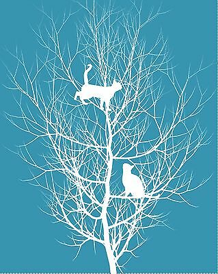 Teal & White Home Decor Wall Art Photo Print Tree Cats Matted Bedroom Picture