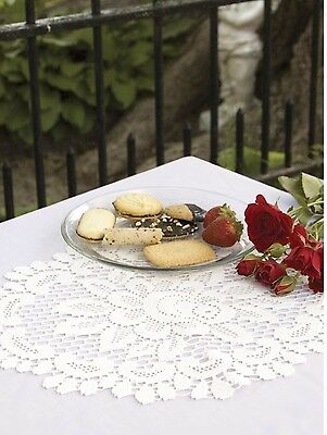 """Heritage Lace Rose pattern 12"""" Round  Doily -Ecru and Off White."""