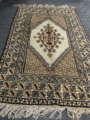 ORIGINAL ANTIQUE MOROCCAN WOOL CARPET RUG HAND MADE 260x148-cm/102.3x58.2-inches