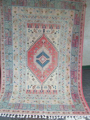 ORIGINAL ANTIQUE MOROCCAN WOOL CARPET RUG HAND MADE 225x150-cm/88.5x59.0-inches