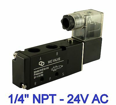 "1/4"" Pneumatic 4 Way 2 Position Air Directional Control Solenoid Valve 24V AC"