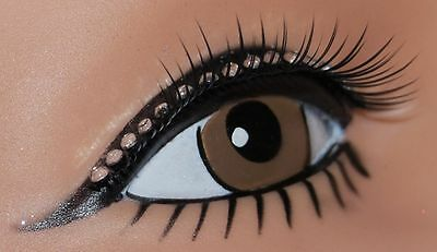 Tapered Lashes w/Diamonte Lid Line Eyelashes Fancy Dress Party Accessories