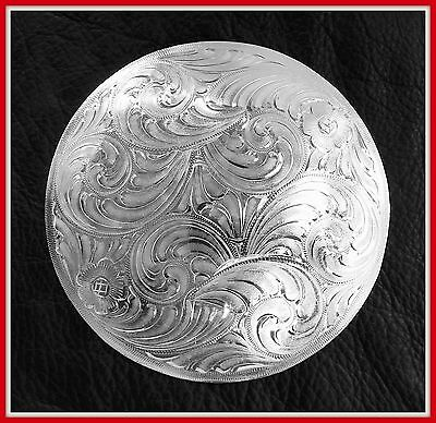 """4"""" Silver Hand Engraved Western Concho"""