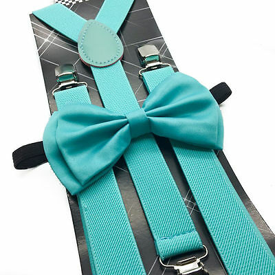 New Teal Awesome Wedding Mint Green Men's  Bow Tie & Suspender & Bow Tie Set