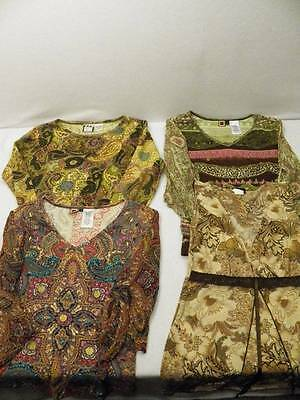 4 Pc Lot Indian Style Shirt Women's Sz S Hippie Boho India Forbidden Take Two