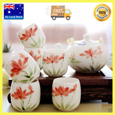 7 Piece Lotus Pattern Porcelain Tea Set 800ml Teapot + 6 Cups In Deluxe Gift Box