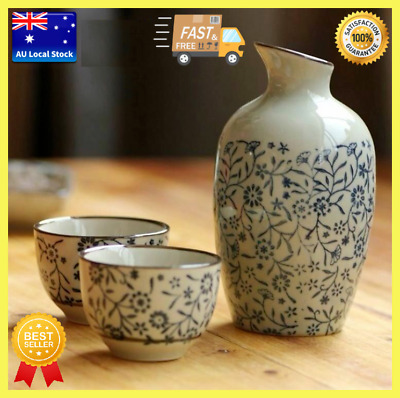 Japanese Traditional Flower And Grass Patterned 5 Piece Sake Set In 4 Colors
